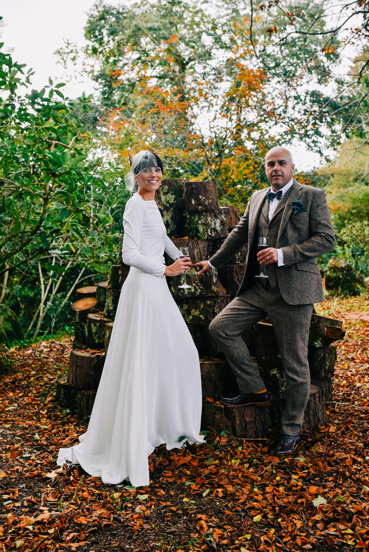 Glazebrook House Wedding Harriet Bird Photography Dress Gown Sleek Modern Long Sleeves Top Skirt Andrea Hawkes Bridal