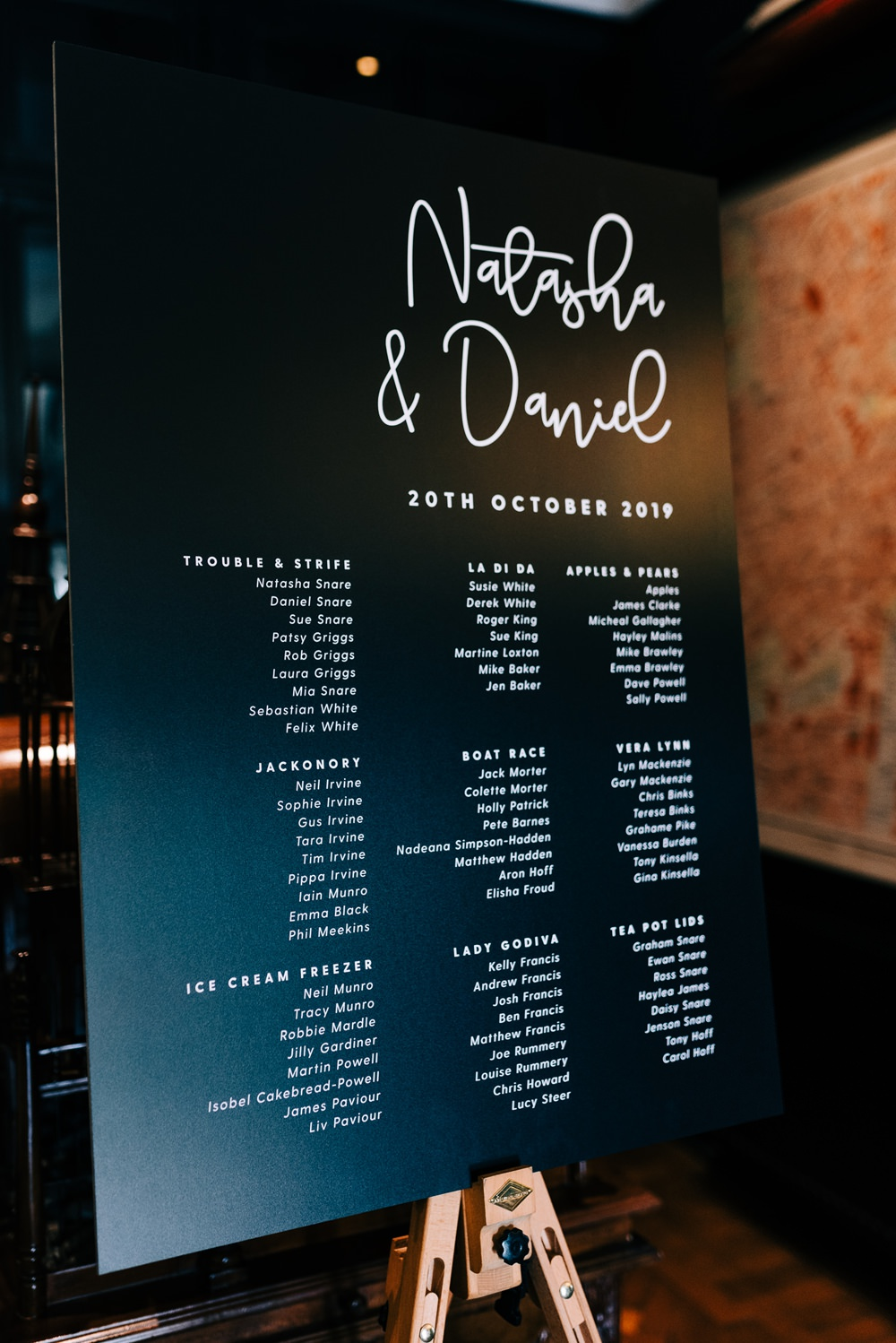 Table Plan Black White Calligraphy Seating Chart Glazebrook House Wedding Harriet Bird Photography