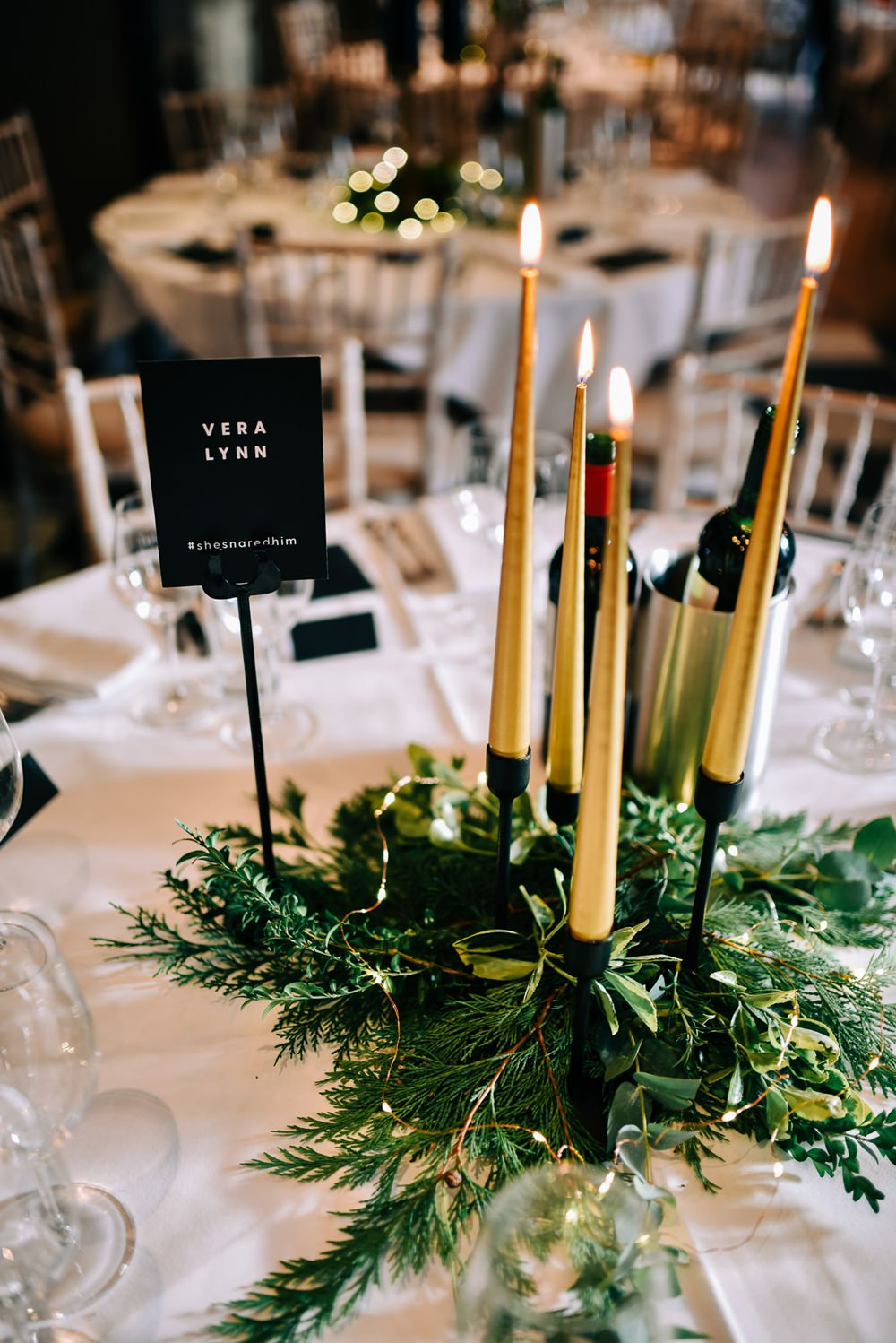 Black White Table Name Gold Candles Table Decor Centrepiece Glazebrook House Wedding Harriet Bird Photography