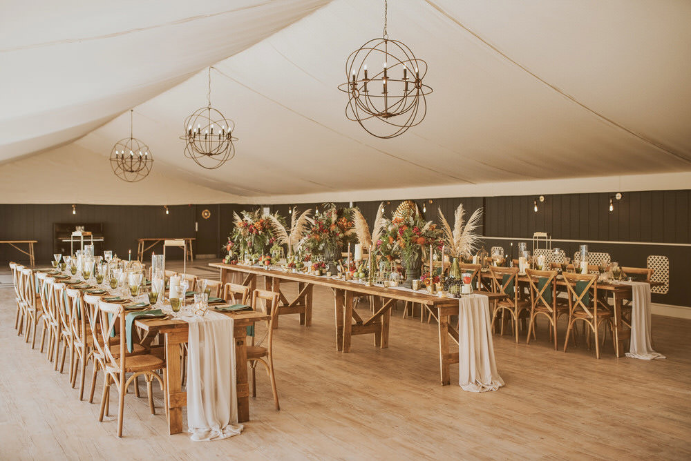 Tent Marquee Long Tables Decor Green Gold Wedding Ideas Samantha Davis Photography