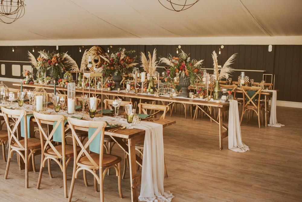 Decor Decoration Table Tablescape Glasses Candles Napkins Cutlery Table Runners Green Gold Wedding Ideas Samantha Davis Photography