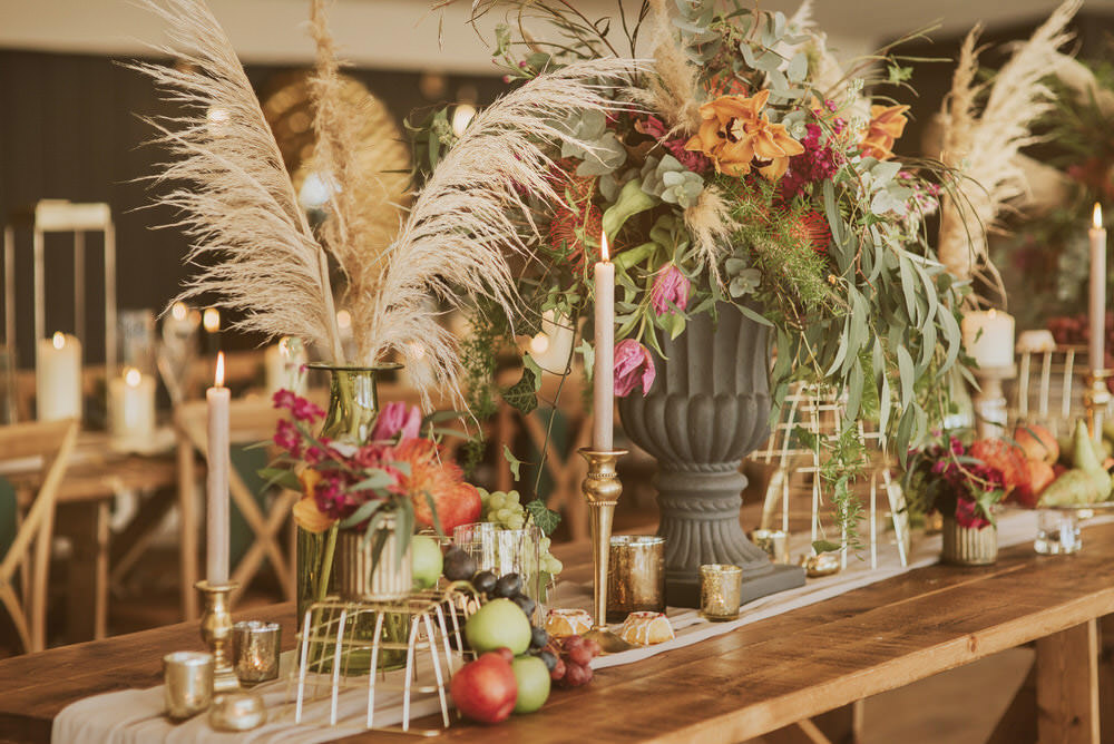 Flowers Flower Arrangement Urn Pampas Grass Pincushion Rose Greenery Green Gold Wedding Ideas Samantha Davis Photography