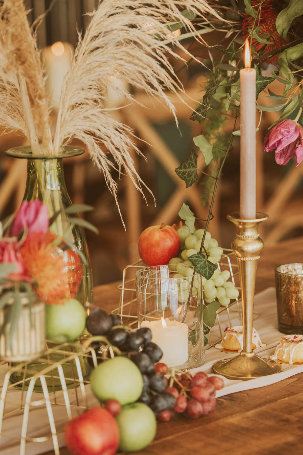 Decor Decoration Table Tablescape Glasses Candles Napkins Cutlery Fruit Green Gold Wedding Ideas Samantha Davis Photography