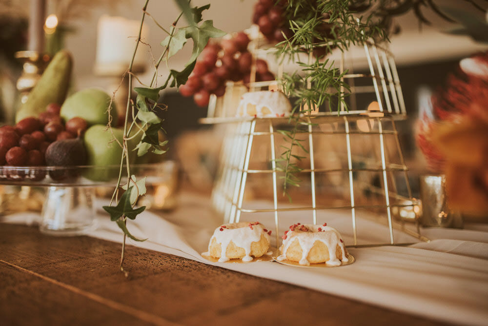 Decor Decoration Table Tablescape Glasses Candles Napkins Cutlery Mini Cakes Green Gold Wedding Ideas Samantha Davis Photography