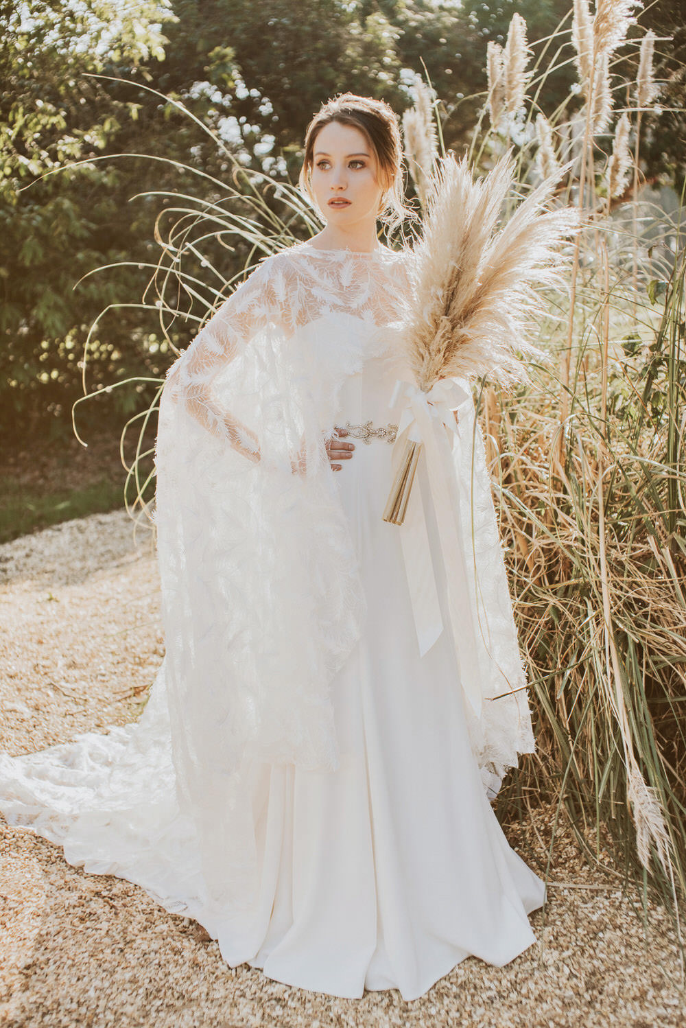 Green Gold Wedding Ideas Samantha Davis Photography Bride Bridal Dress Gown Feather Embroidered Cape Willowby by Watters