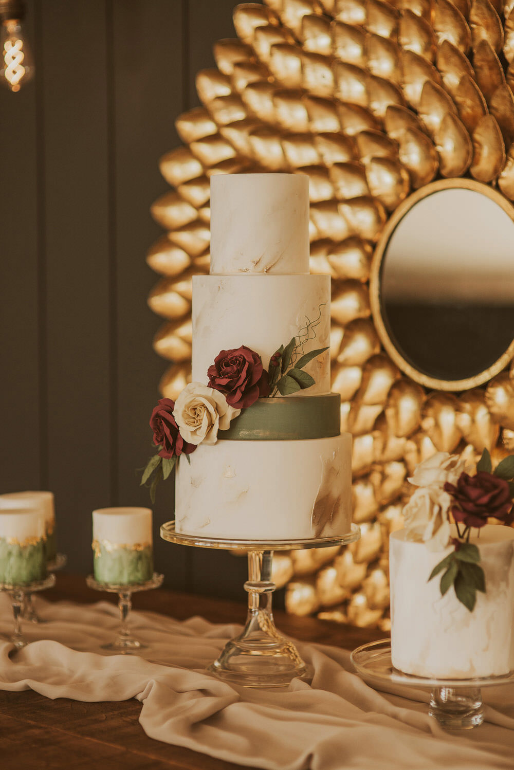 Cake Table Desserts Cakes Flowers Floral Green Gold Wedding Ideas Samantha Davis Photography