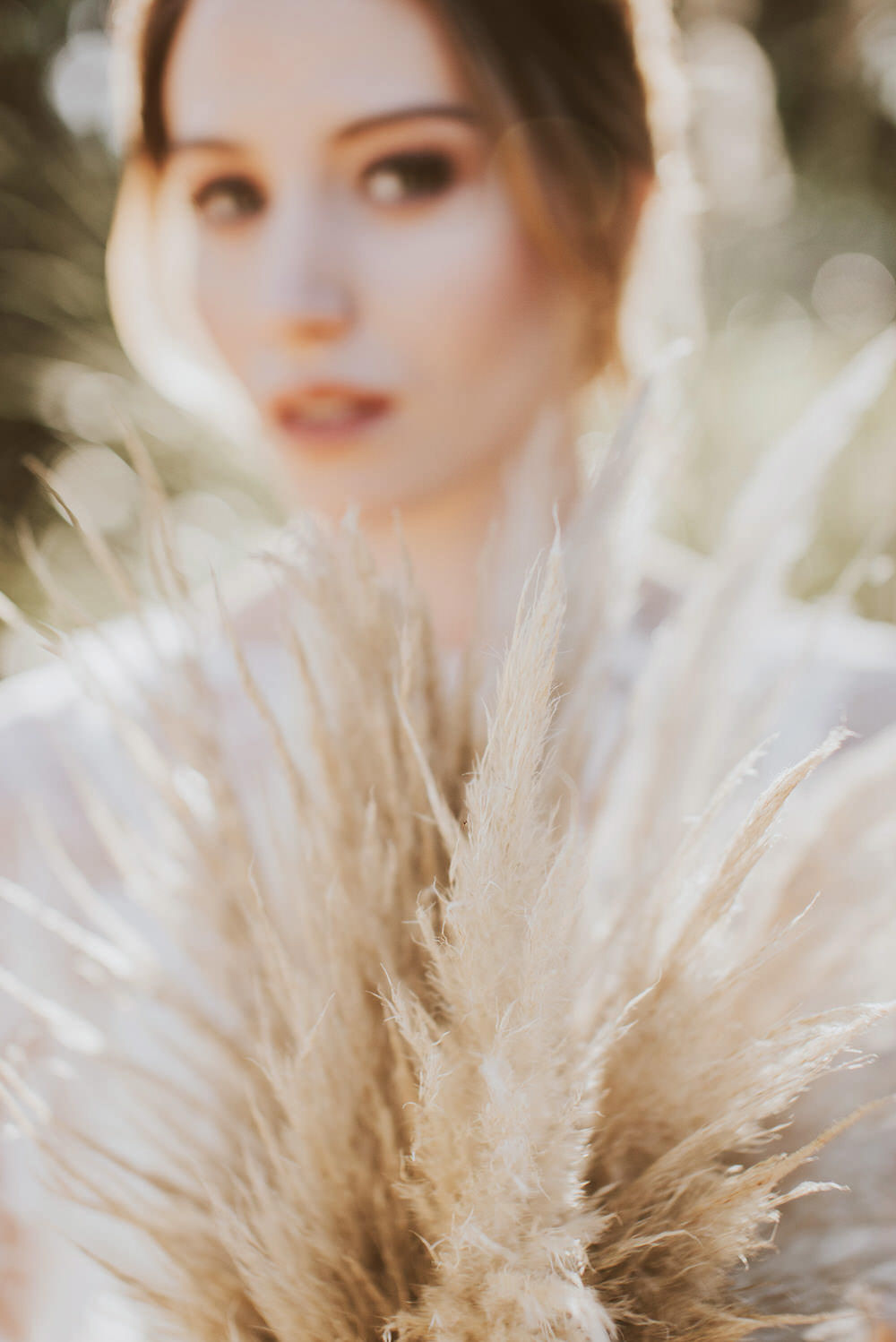 Bride Bridal Bouquet Flowers Pampas Grass Ribbon Bow Green Gold Wedding Ideas Samantha Davis Photography