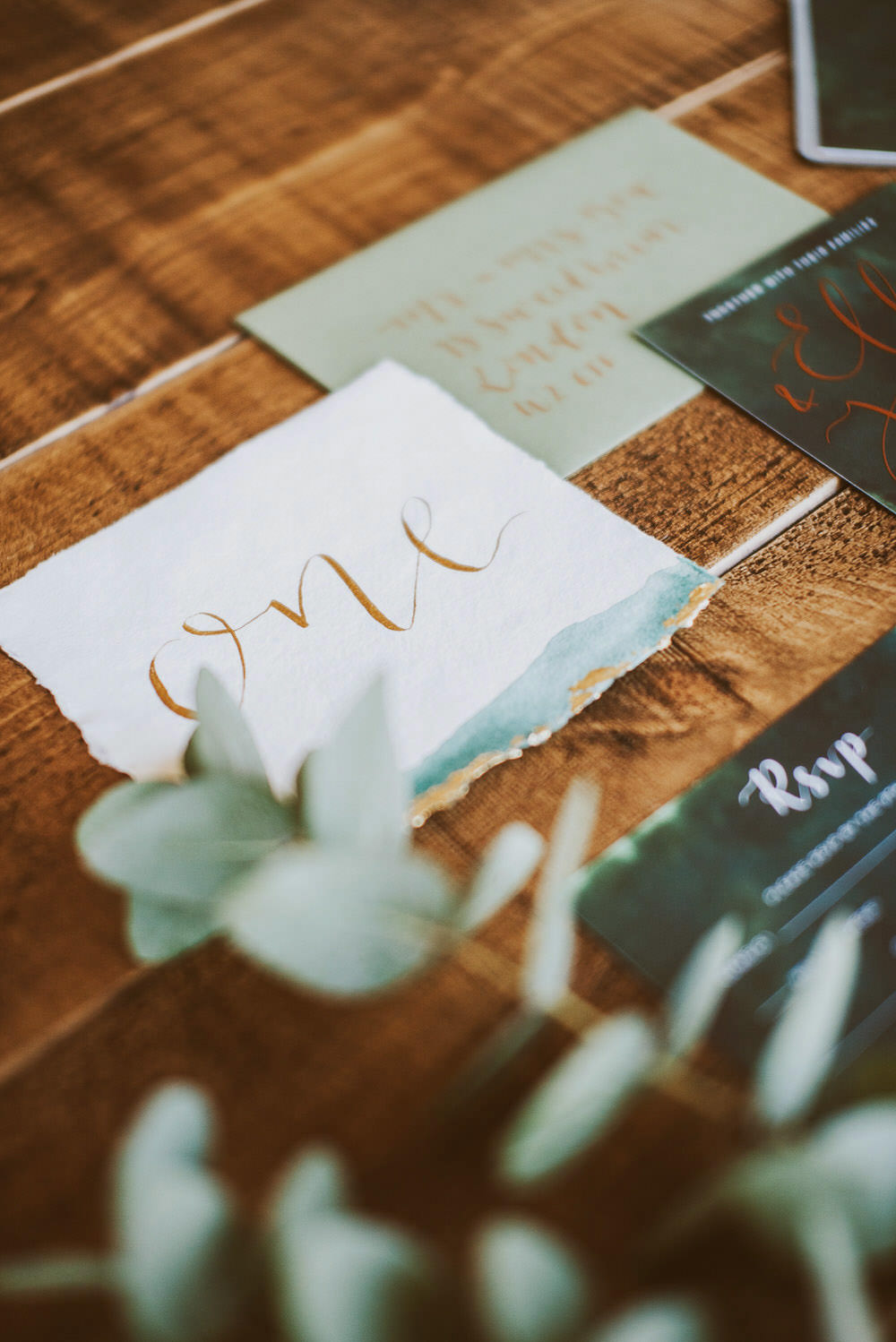 Watercolour Table Name Calligraphy Green Gold Wedding Ideas Samantha Davis Photography