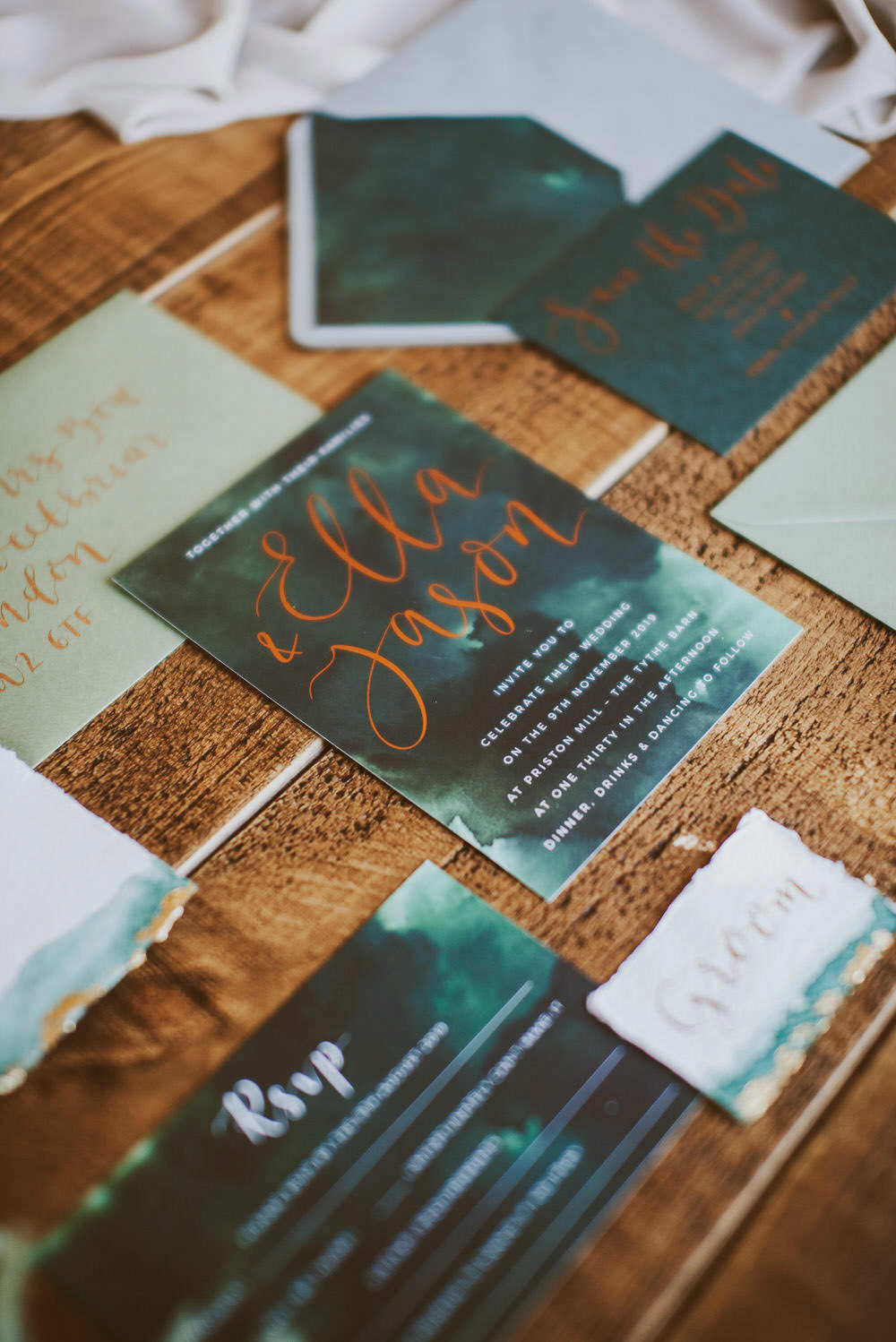 Stationery Suite Invitations Invite Flat Lay Calligraphy Envelope Green Gold Wedding Ideas Samantha Davis Photography