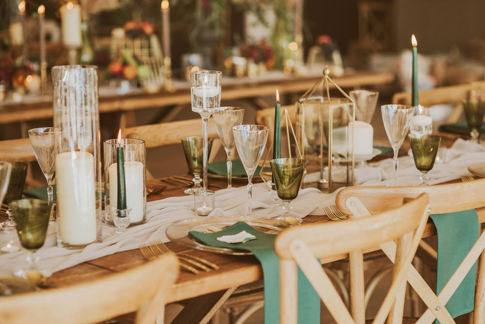 Decor Decoration Table Tablescape Glasses Candles Napkins Cutlery Green Gold Wedding Ideas Samantha Davis Photography