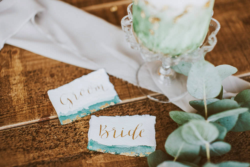 Watercolour Place Name Cards Green Gold Wedding Ideas Samantha Davis Photography