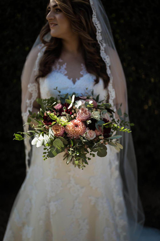 Bride Bridal Bouquet Flowers Dahlia Rose Eucalyptus Haughley Park Barn Wedding Him and Her Wedding Photography