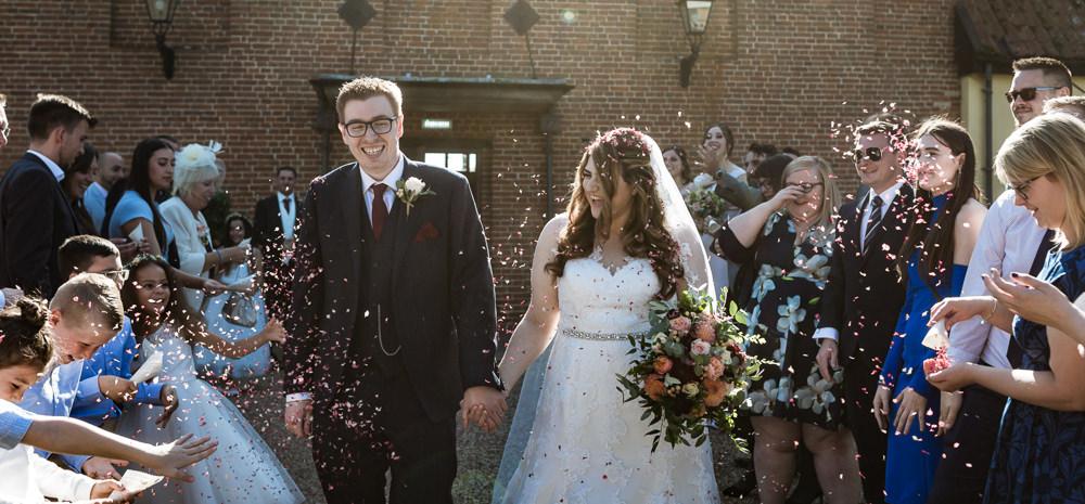 Confetti Throw Haughley Park Barn Wedding Him and Her Wedding Photography