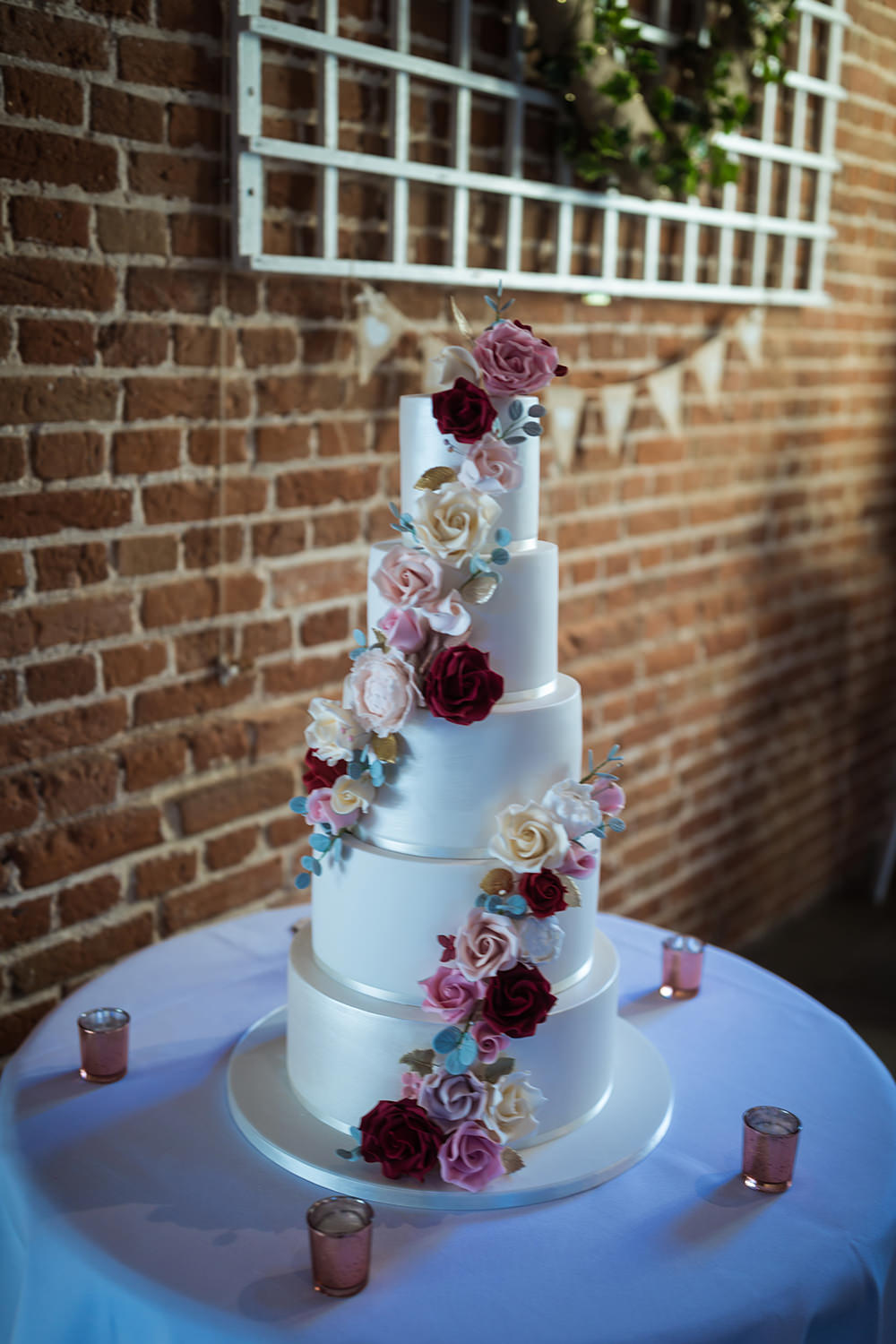 Tall Cake Flowers Floral Haughley Park Barn Wedding Him and Her Wedding Photography