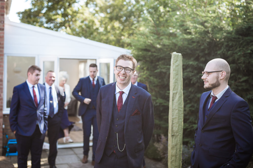Groom Suit Navy Red Tie Haughley Park Barn Wedding Him and Her Wedding Photography