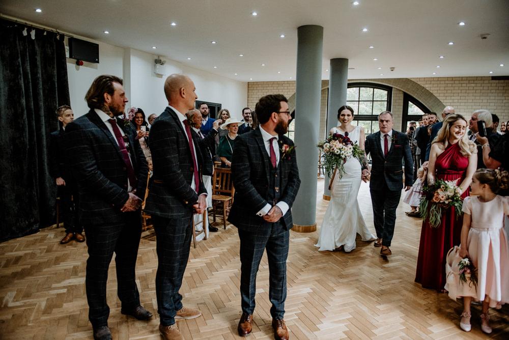Groom Groomsmen Suit Check Waistcoat Burgundy Tie Pocket Watch Indie Autumn Wedding Kazooieloki Photography