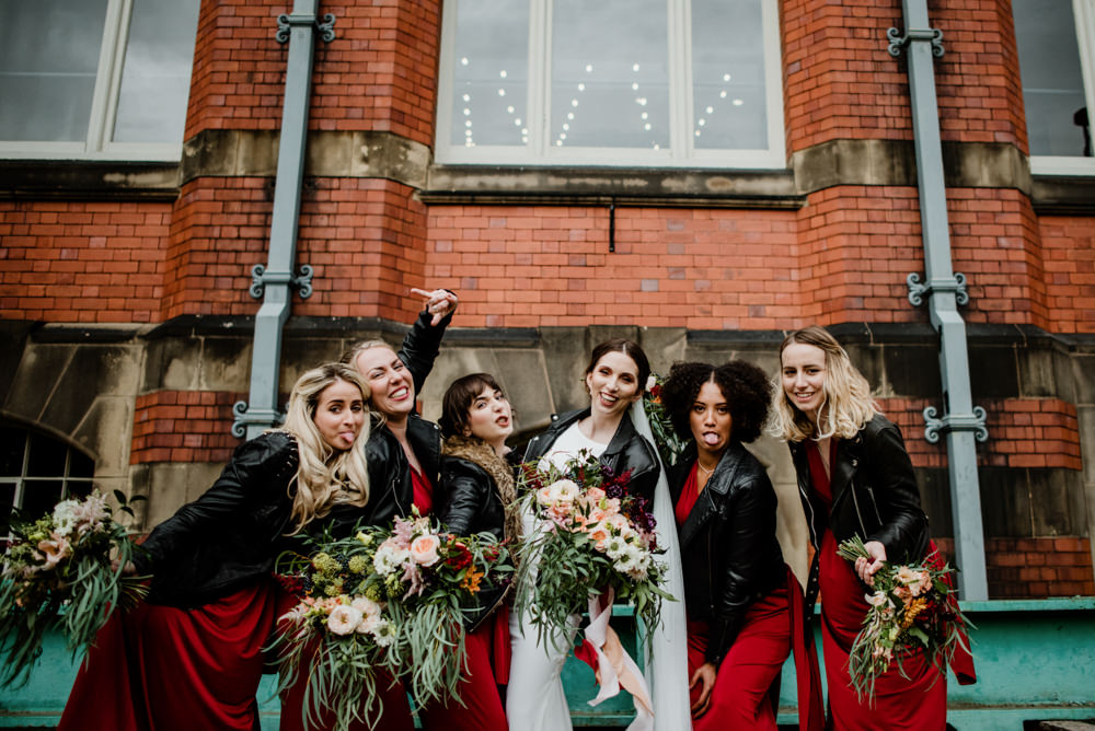 Bridesmaids Bridesmaid Dress Dresses Red Burgundy Leather Jackets Indie Autumn Wedding Kazooieloki Photography