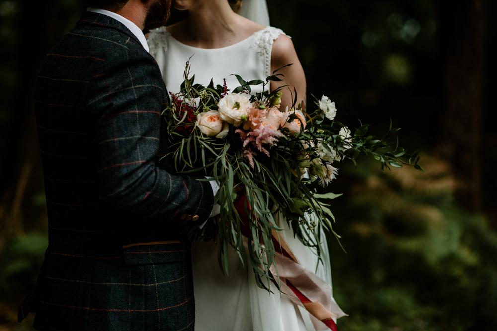 Bouquet Flowers Bride Bridal Greenery Foliage Blush Pink Rose Indie Autumn Wedding Kazooieloki Photography