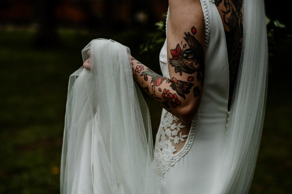 Dress Gown Bride Bridal Pronovias Lace Panels Low Back Train Bride Bridal Tattoos Indie Autumn Wedding Kazooieloki Photography