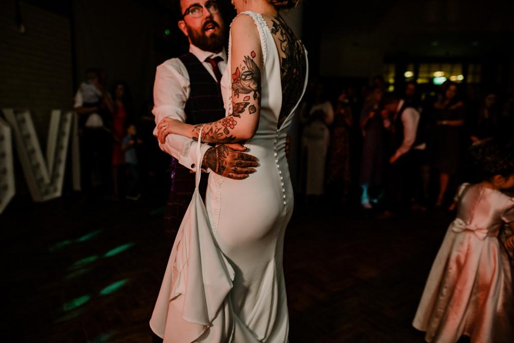 Dress Gown Bride Bridal Pronovias Lace Panels Low Back Train Confetti Bags Envelopes Indie Autumn Wedding Kazooieloki Photography