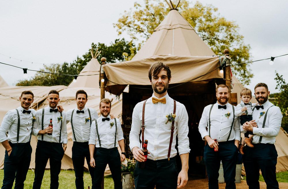 Groom Groomsmen Bow Ties Braces Individual Tipi Wedding Bridgwood Wedding Photography