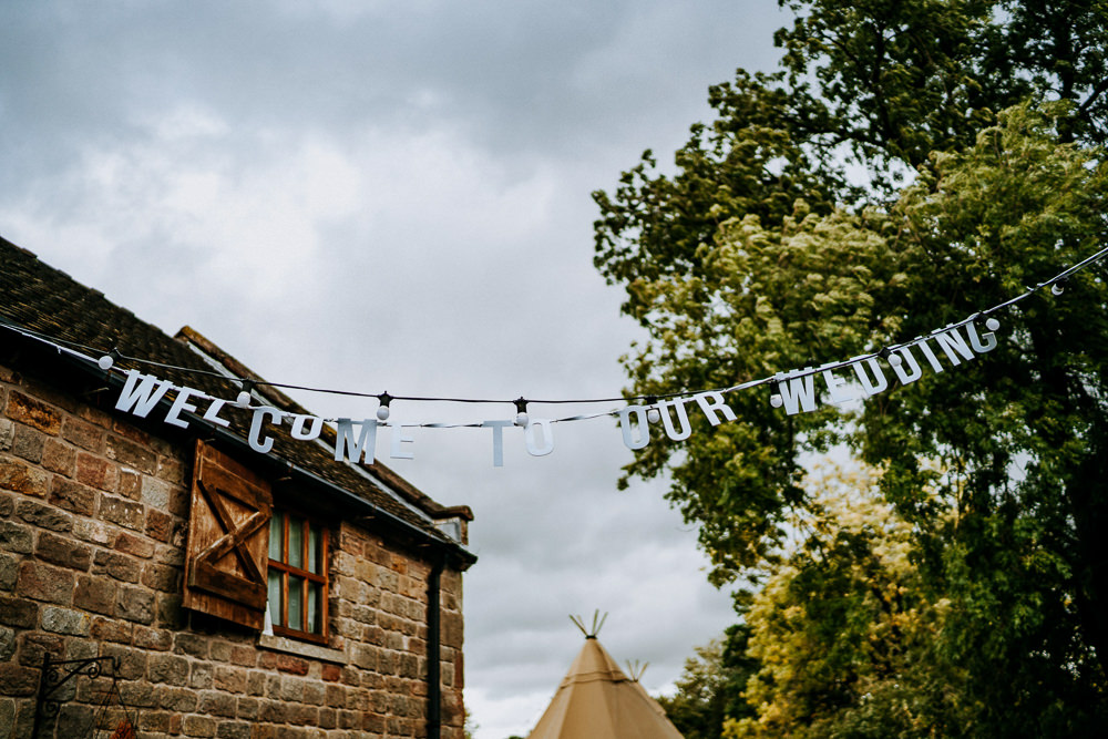 Welcome Banner Cut Out Sign Bunting Individual Tipi Wedding Bridgwood Wedding Photography