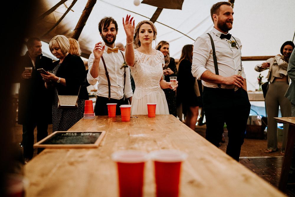 Beer Pong Game Individual Tipi Wedding Bridgwood Wedding Photography