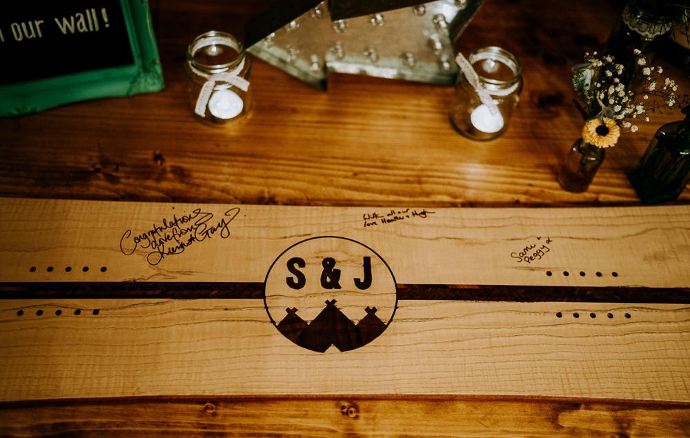 Wooden Guest Book Snowboard Individual Tipi Wedding Bridgwood Wedding Photography