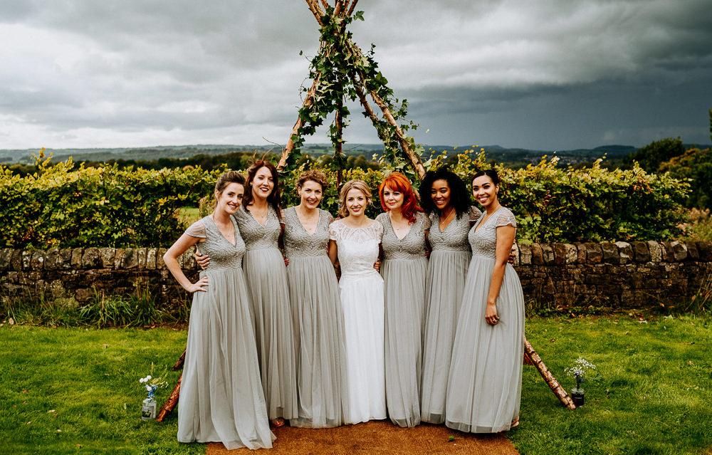 Greenery Triangle Naked Tipi Backdrop Bridesmaids Bridesmaid Dress Dresses Grey Individual Tipi Wedding Bridgwood Wedding Photography