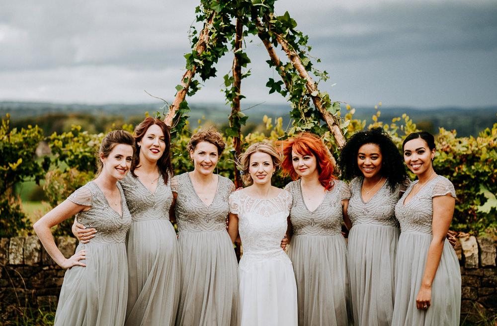Bridesmaids Bridesmaid Dress Dresses Grey Individual Tipi Wedding Bridgwood Wedding Photography