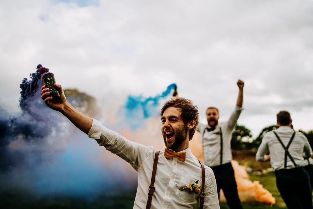 Groom Groomsmen Bow Ties Braces Individual Tipi Wedding Bridgwood Wedding Photography Smoke Bomb Photo Portraits