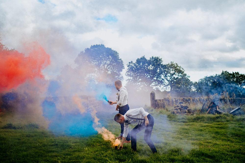 Smoke Bomb Photo Portraits Individual Tipi Wedding Bridgwood Wedding Photography