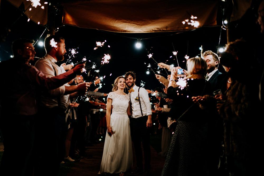Sparkler Sparklers Send Off Exit Individual Tipi Wedding Bridgwood Wedding Photography