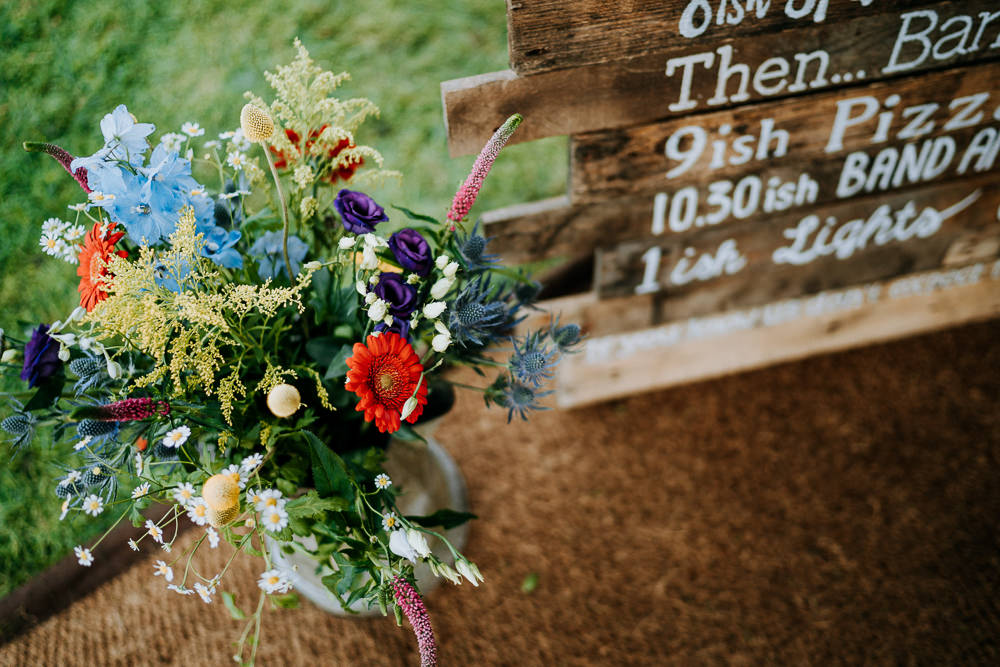 Colourful Wild Flowers Decor Individual Tipi Wedding Bridgwood Wedding Photography