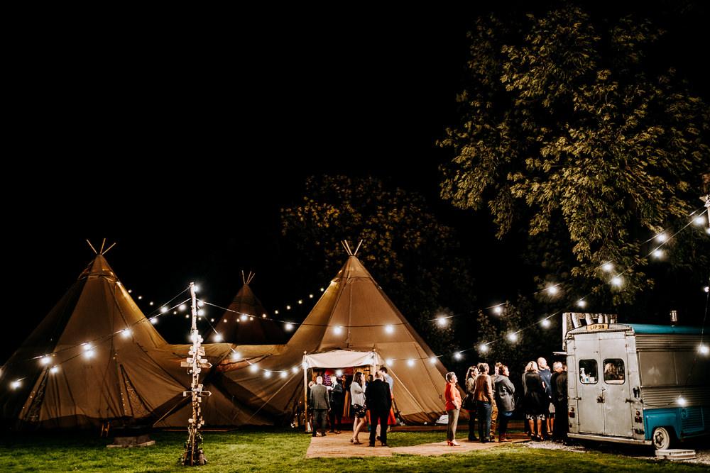 Rag Bunting Festoon Lights Lighting Individual Tipi Wedding Bridgwood Wedding Photography