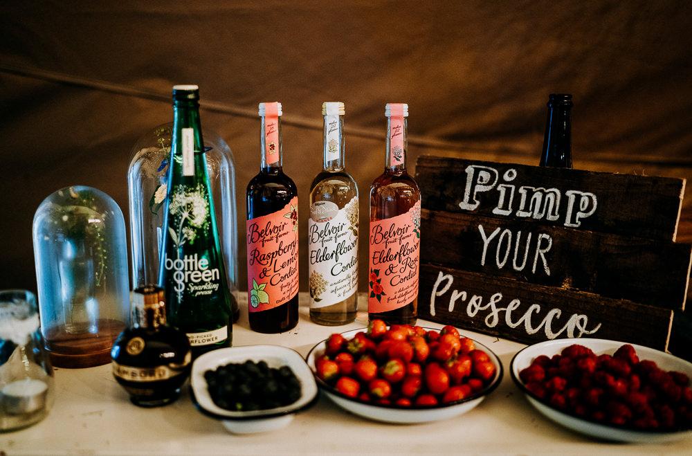 Pimp Your Prosecco Bar Drinks Individual Tipi Wedding Bridgwood Wedding Photography