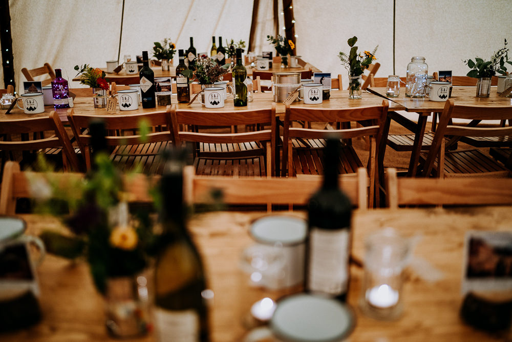 Long Tables Decor Flowers Individual Tipi Wedding Bridgwood Wedding Photography