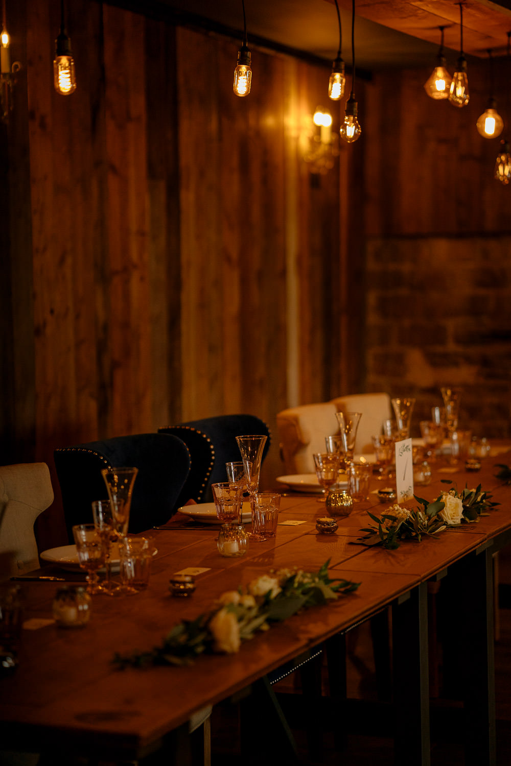 Table Decor Festoon Lights Industrial Barn Wedding Toast Of Leeds