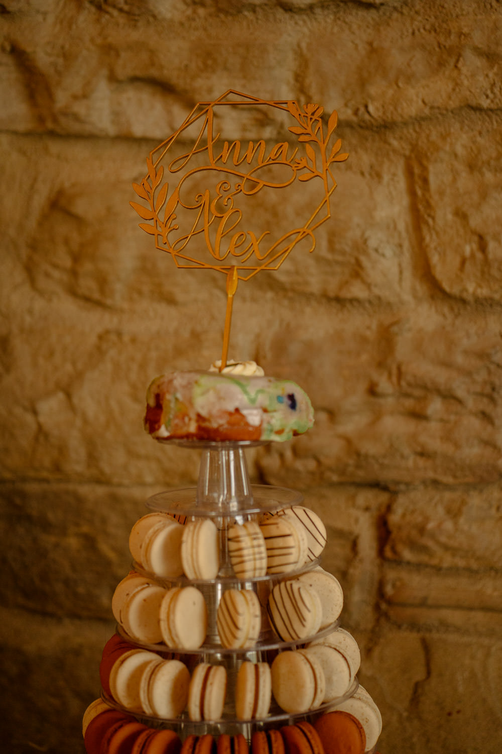Macaron Tower Cake Topper Industrial Barn Wedding Toast Of Leeds