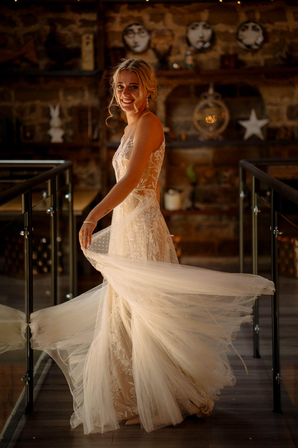 BHLDN Dress Gown Bride Bridal Tulle Lace Train Industrial Barn Wedding Toast Of Leeds