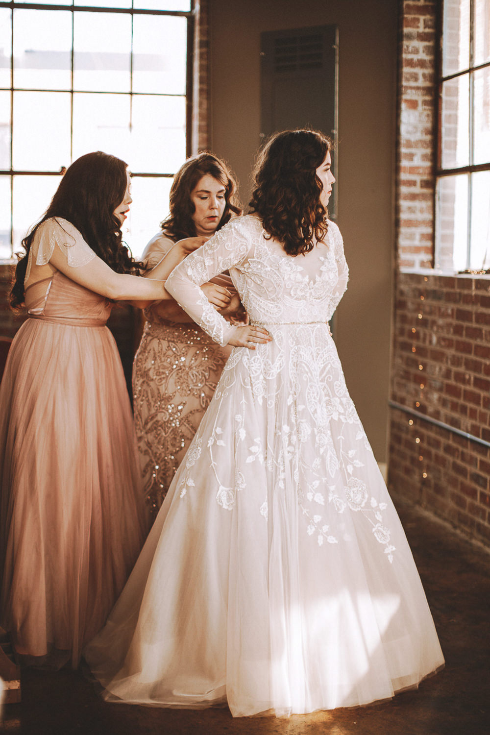 Dress Gown Bride Bridal Hayley Paige Lace Long Sleeves Train Industrial Distillery Wedding Nessa K Photography