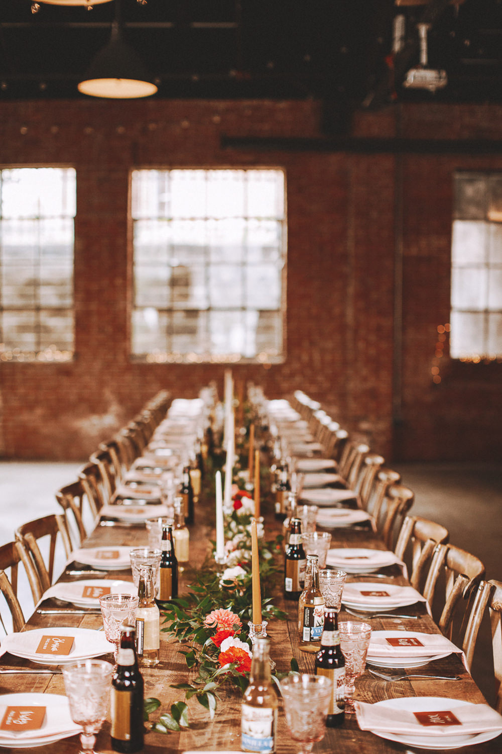 Long Wooden Table Decor Decoration Candles Flowers Industrial Distillery Wedding Nessa K Photography