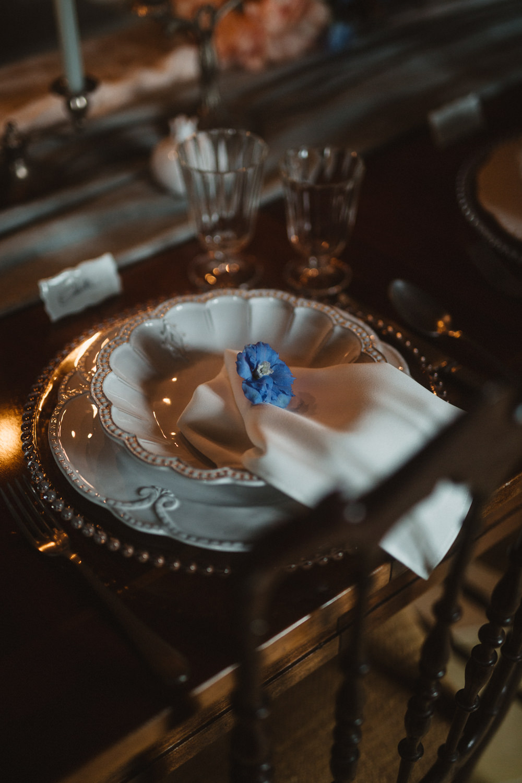 Table Setting Place Setting Decor Napkin Blue Flower Le Marche Wedding Inspiration Francesca Angrisano
