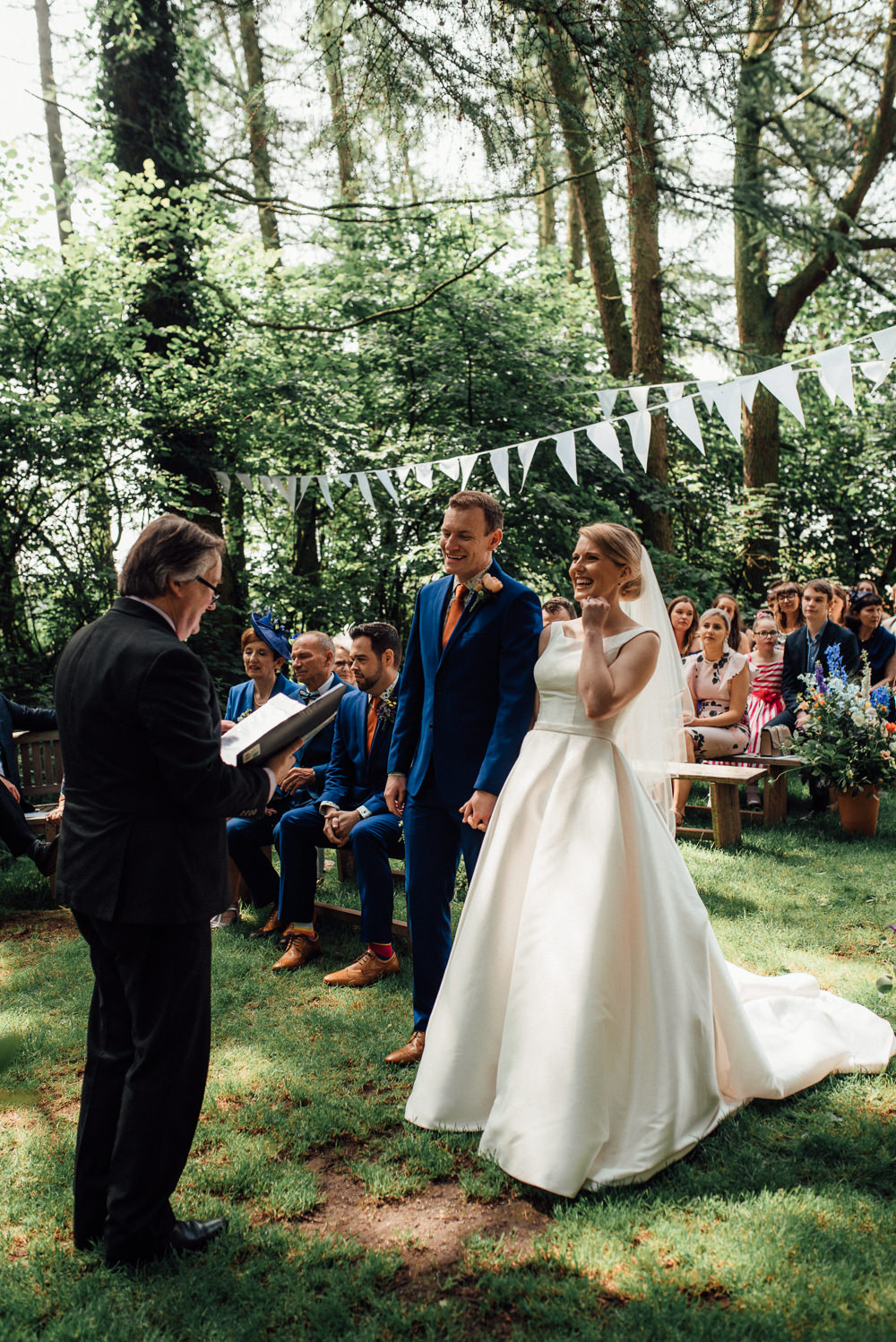 Woodland Outdoor Ceremony Bunting Flowers Lineham Farm Wedding Marni V Photography