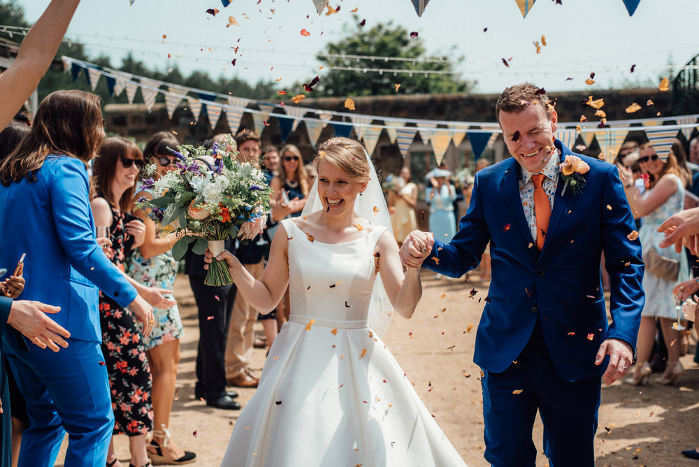 Confetti Throw Lineham Farm Wedding Marni V Photography