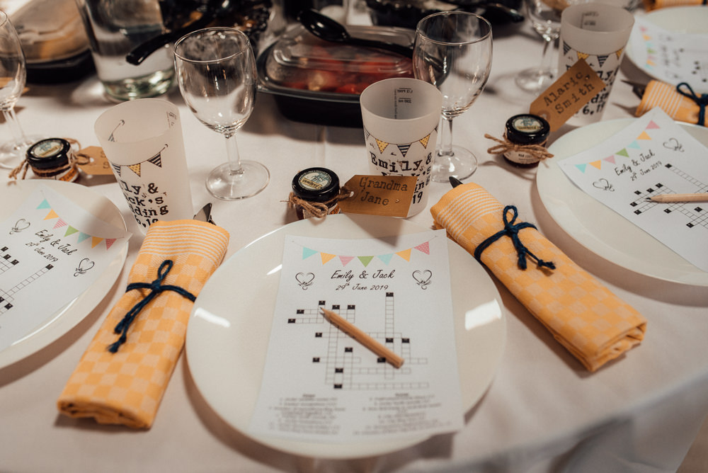 Crossword Quiz Table Setting Lineham Farm Wedding Marni V Photography