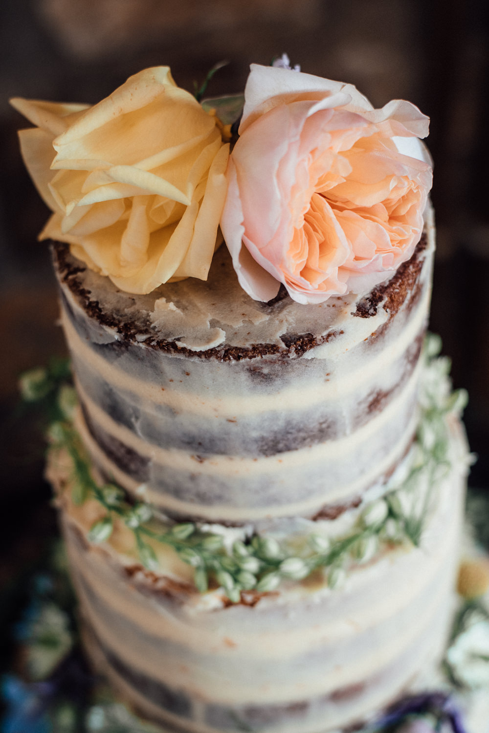 Semi Naked Cake Sponge Layer Flowers Lineham Farm Wedding Marni V Photography