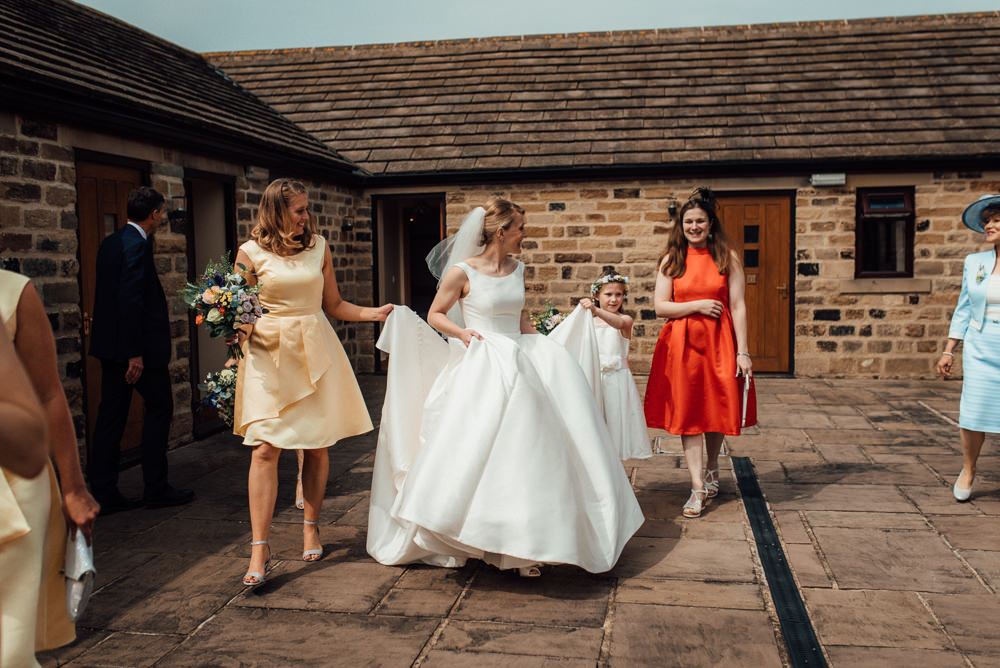 Dress Gown Bride Bridal Pockets Lineham Farm Wedding Marni V Photography