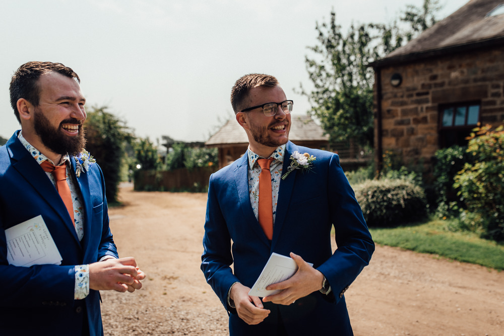 Groom Groomsmen Suit Blue Orange Tie Print Shirt Lineham Farm Wedding Marni V Photography