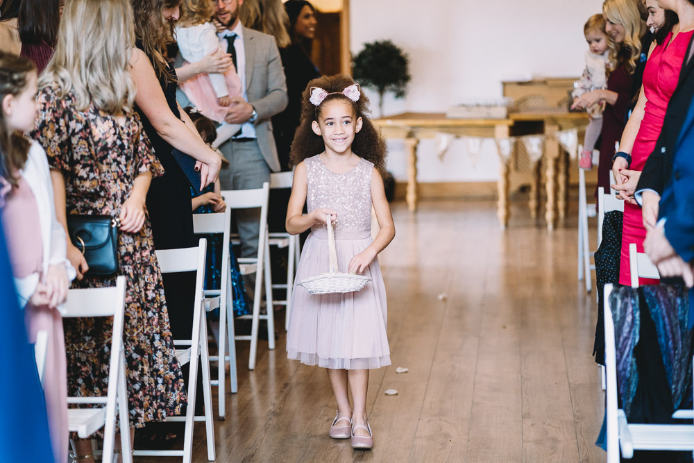 Flower Girl Petals Basket Maidens Barn Wedding Sophie Oldhamstead Photography